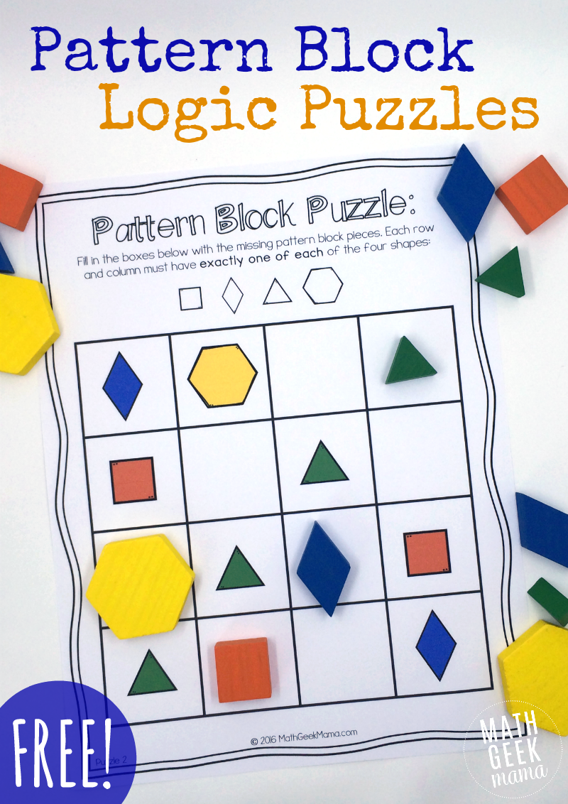 picture about Easy Logic Puzzles Printable called Routine Block Puzzles No cost