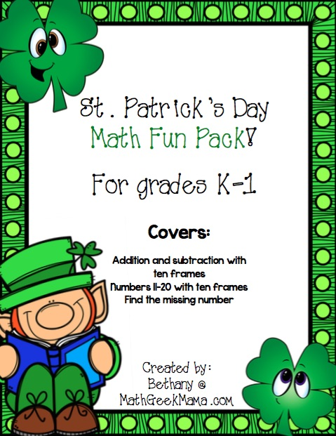 This St. Patrick's Day math pack is the perfect way to weave math review into your St. Patrick's Day celebrations! 5 pages of math practice for grades K-1!