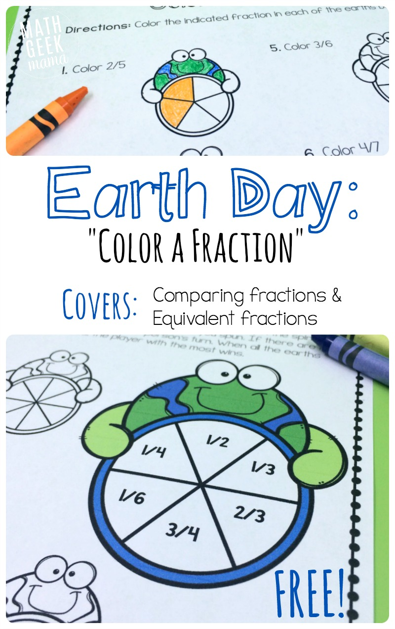 This fun printable pack is perfect for Earth Day! Several different FREE activities to help kids recognize fractions, compare fractions and equivalent fractions.