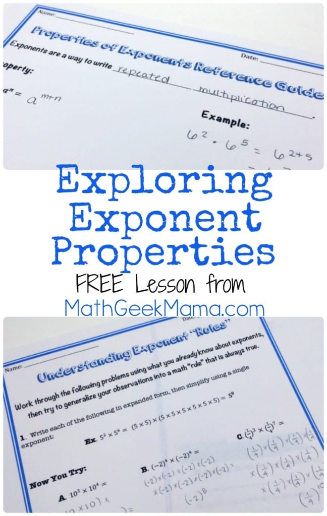 This simple lesson introduces students to exponent properties in a way that makes sense rather than simply memorizing a bunch of rules! Everything you need is included in this free download!