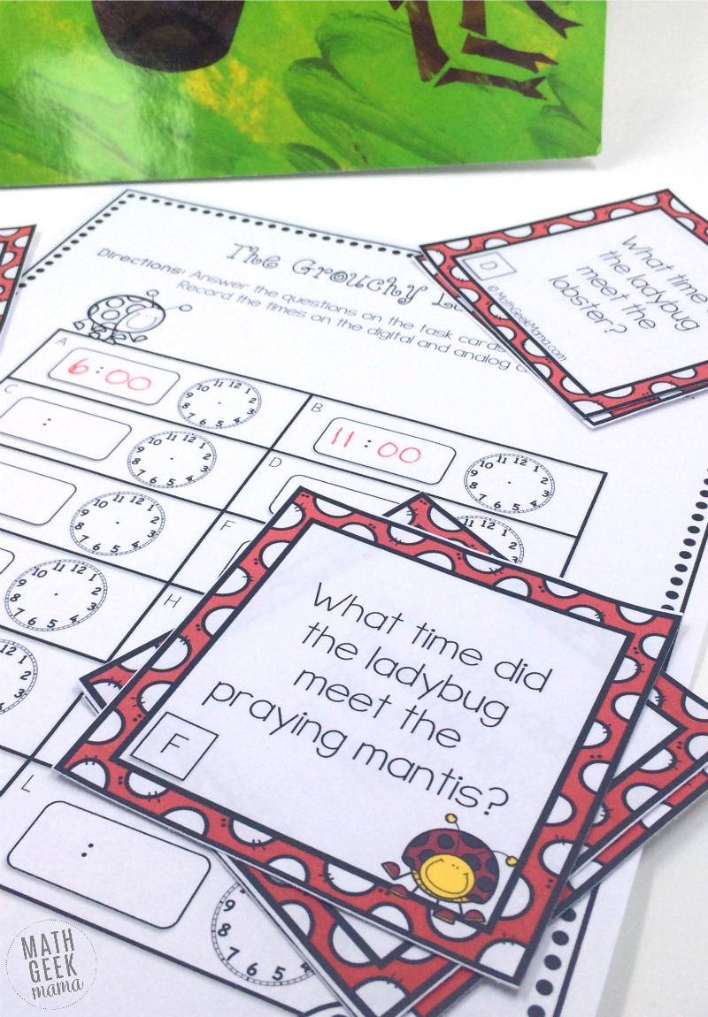 These fun telling time activities can be used along with the book, The Grouchy Ladybug! Kids will love telling time along with the story!