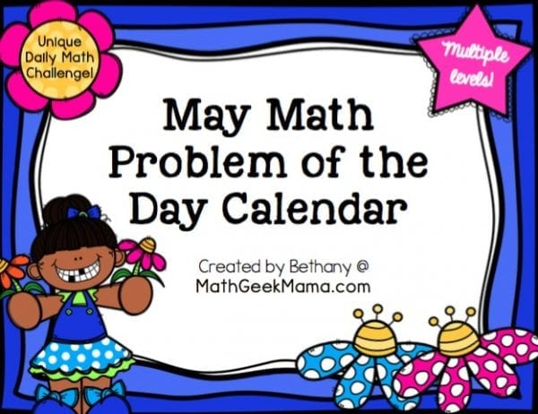 This fun and unique daily math challenge is a great way to weave a little math into your day! Easy to use, this May Math Problem of the Day calendar is perfect for Kindergarten through fifth grade!