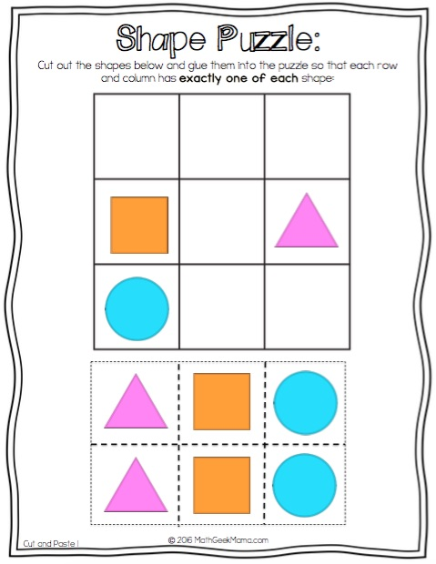 Cut and Paste Shape Puzzles - Math Geek Mama