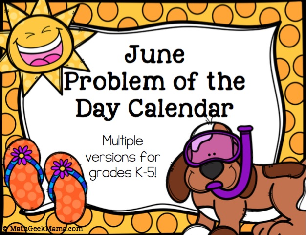 Keep kids brains active this summer with a fun and low prep June Math Problem of the day calendar! This is such an easy way to review math skills over the summer!