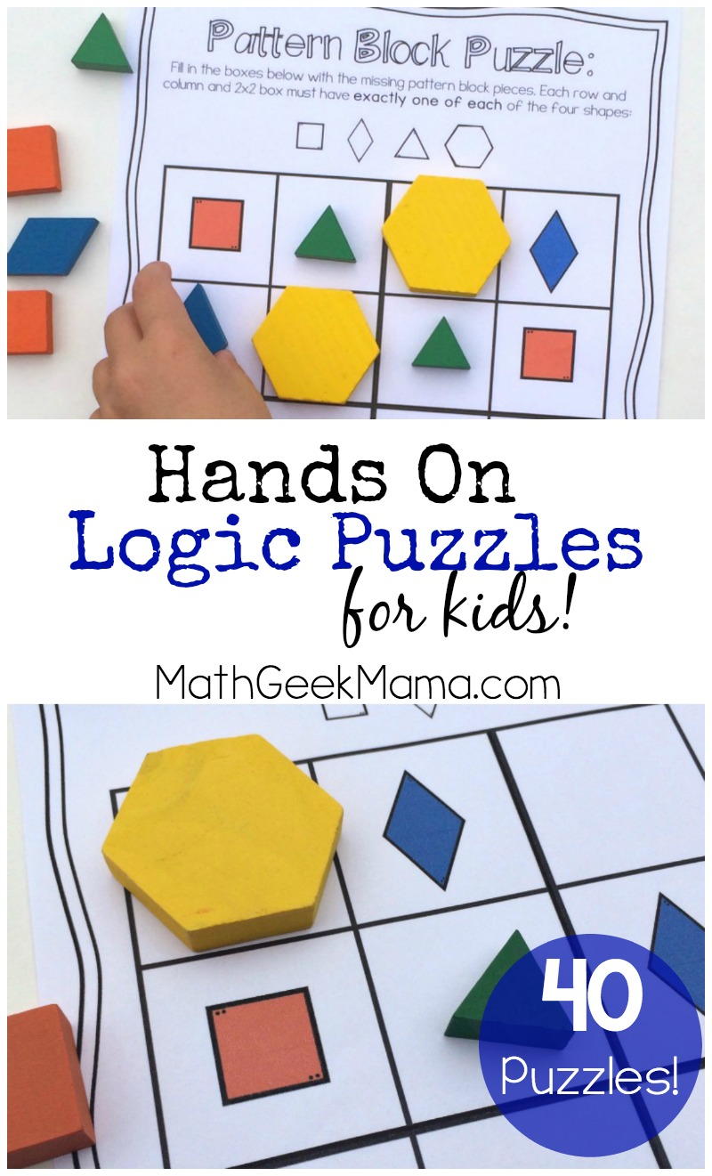 Hands On Logic Puzzles For Kids Diagram Shapes This Awesome Set Of 40 Is A Great Way To Get