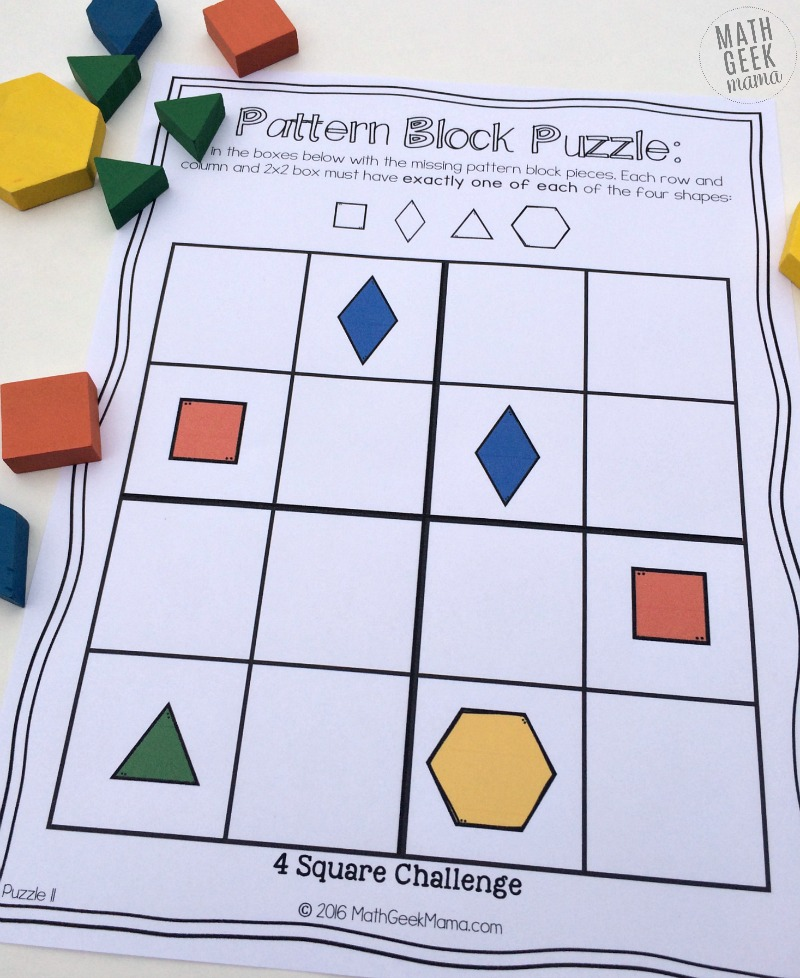 Pattern Block Logic Puzzles - Math Geek Mama