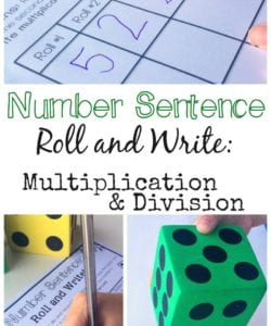 Number Sentence Roll and Write: Multiplication and Division