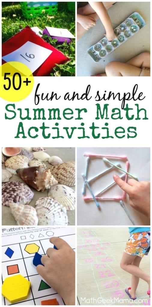 This HUGE list of fun math ideas is perfect for helping your kids hone their math skills over the summer! More than 50 simple summer math ideas to prevent learning loss, while having fun!