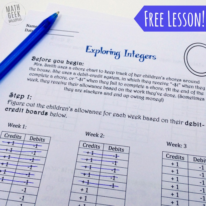 FREE Adding and Subtracting Integers Lesson – Adding and Subtracting Integers Fun Worksheet