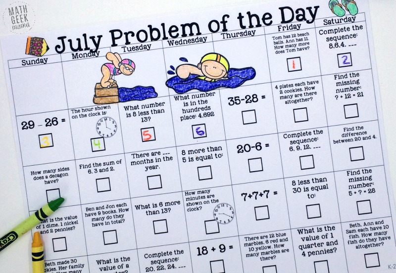 This fun and simple to use math calendar is the perfect way to keep math skills sharp! Each free July Math Problem of the Day calendar includes a variety of review for Kindergarten to 2nd grade, as well as 3rd grade to 5th grade.