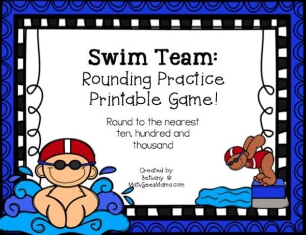This easy to use printable rounding game is perfect for second grade or third grade! This game helps kids practice rounding to the nearest ten, hundred and thousand as they race to beat the other swimmers!