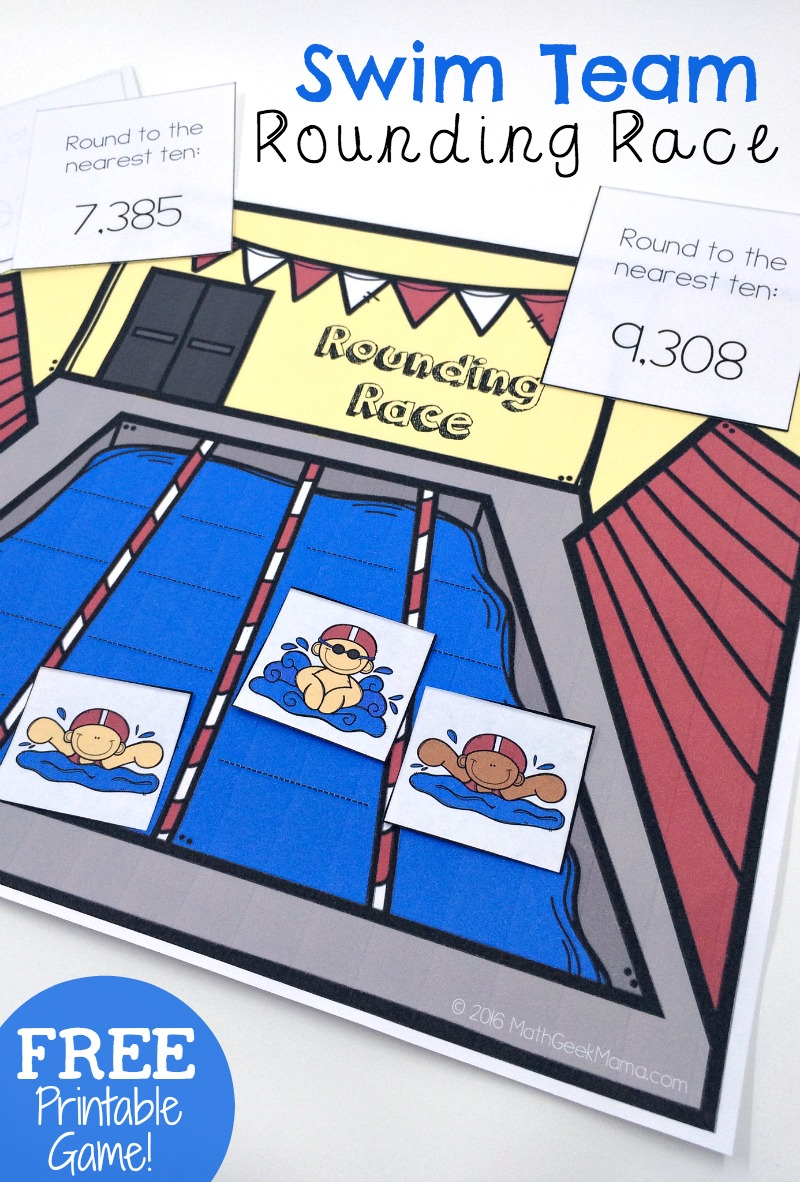 This easy to use printable rounding game is perfect for second grade or third grade! This game will help kids practice rounding to the nearest ten, hundred and thousand as they race to beat the other swimmers!