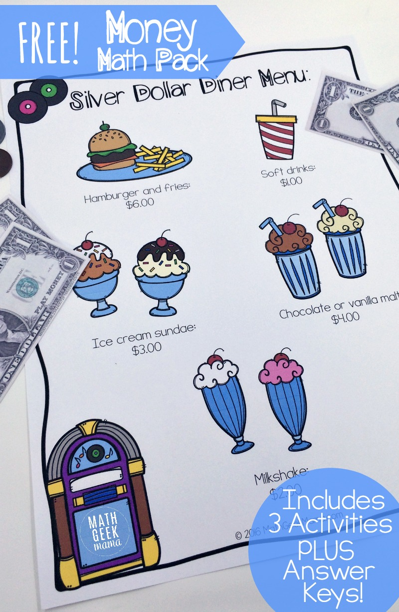 This fun, diner themed math pack includes 3 different activities! Help kids practice adding money and work on their mental math skills with these money math practice pages. Plus, it's easily adaptable for kids of all ages!