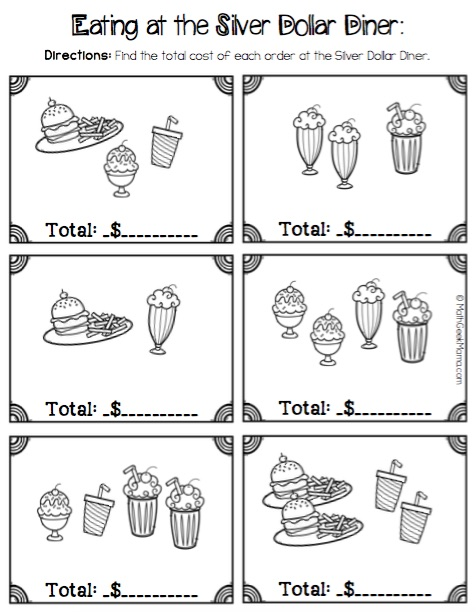 Money Math Practice Worksheets (Diner Theme)