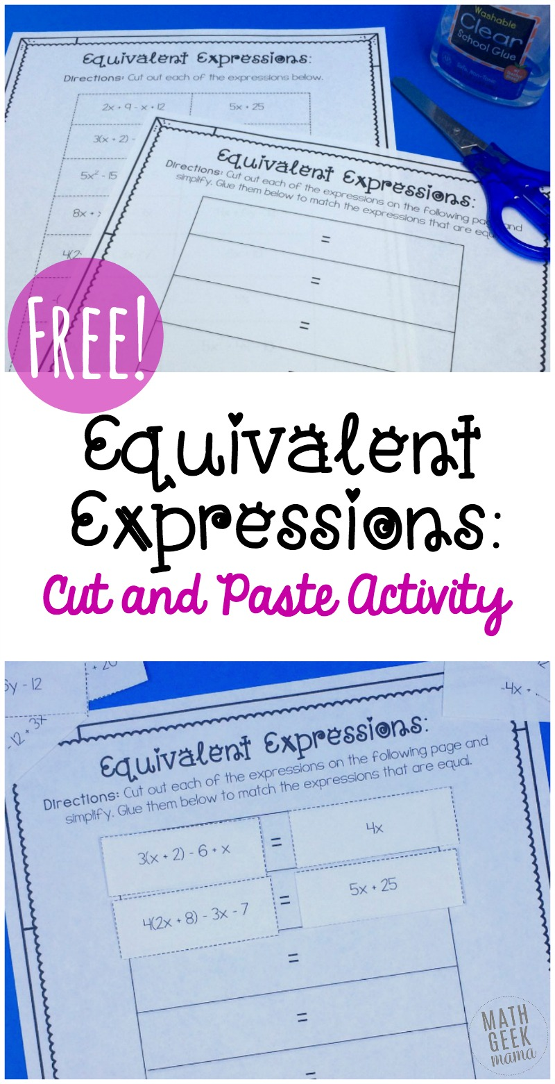 Simple Equivalent Expressions Activity FREE – Evaluate Each Expression Worksheet
