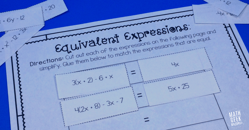 Simple Equivalent Expressions Activity {FREE}