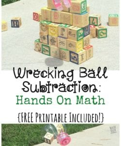 This easy subtraction game is sure to be a hit with your kids! Who doesn't love building a tower and knocking it down? Use this fun activity to model subtraction and practice writing equations. (Printable recording page included)