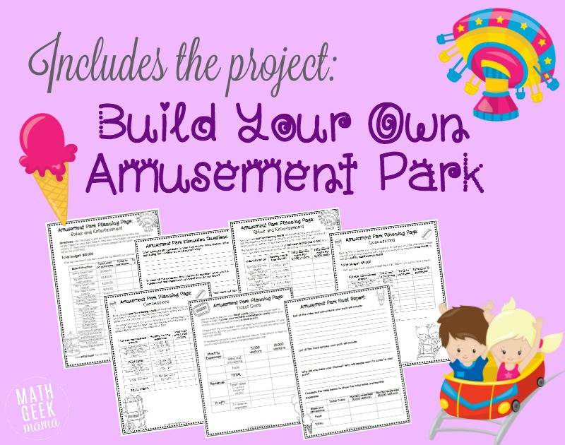 This extensive Algebra porject will challenge kids to think through a fun and engaging business idea: designing their own amusement park! In this project they will learn about costs, revenue and profit as well as apply their understanding of linear equations to a real world example. Perfect for Pre-algebra or Algebra 1 students.