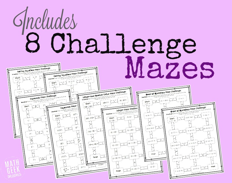 These fun Algebra mazes will give your kids practice with important Algebra skills in a way that is fun and motivating! Students have to get the right answer in order to make it through the maze!