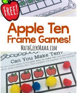 Apple Ten Frame Games for Kindergarten {FREE}