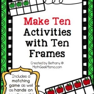 This set of apple ten frame games is the perfect way to help your kids learn to make ten! Adorable for fall or your apple unit, these hands on math activities will help develop number sense and help kids learn number bonds of ten.