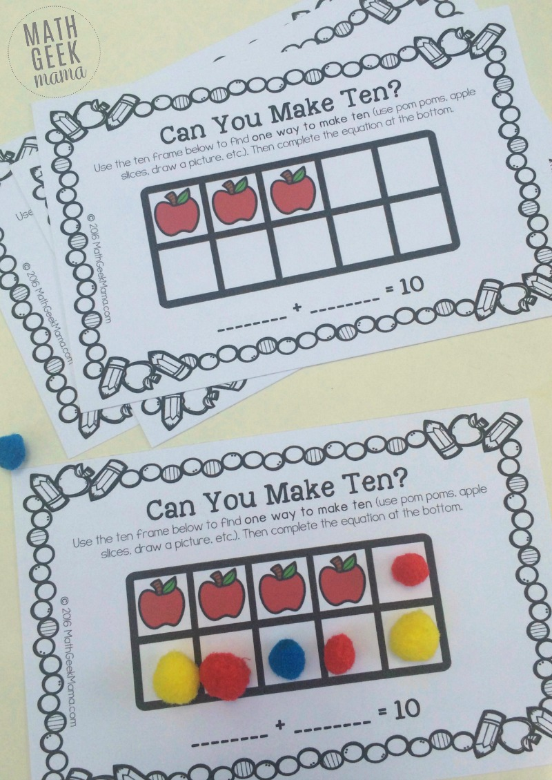 Apple Themed Ten Frame Games to Make Ten {FREE}
