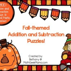 These adorable and simple to use addition and subtraction puzzles are perfect for Fall. Help kids increase their fact fluency as they solve the problems, and then place them in order to complete the puzzle. Then, glue them down for a fun finished product!