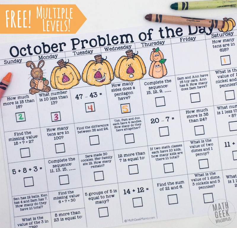 Kids will love this fun twist on a math problem of the day. Each calendar covers a variety of math concepts, providing quick, low prep daily review. One calendar for K-2 and one for 3-5.