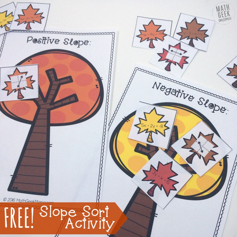 This fun and easy to use slope activity helps kids understand slope by comparing equations and graphs. They then sort them by determining whether the slope is positive, negative, zero or undefined. This free download includes a color and black and white version!