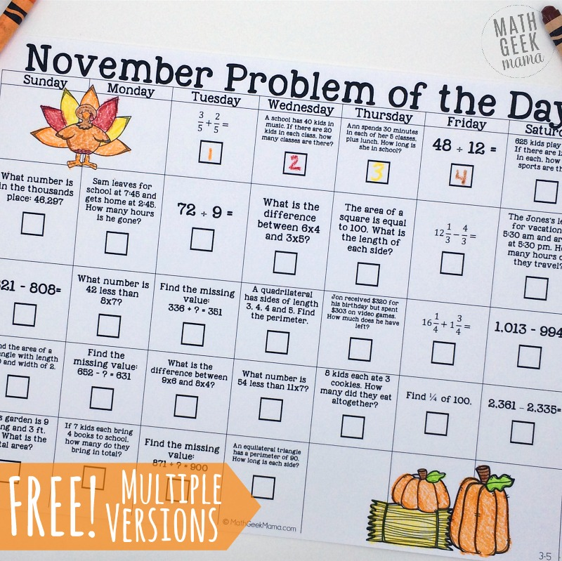 FREE November Problem of the Day Calendar for Grades K-5