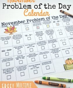 Looking for a simple, low-prep way to review important math facts? Download a FREE November problem of the day calendar which includes a different math problem for each day of the month! And kids will love the fun twist!