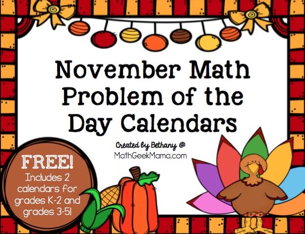FREE November Math Calendar - Math Geek Mama