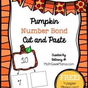 This adorable set of pumpkin-themed worksheets is perfect for working on number bonds to ten! This free download includes 4 pages of cut and paste practice, helping kids understand number bonds and increase their fact fluency.