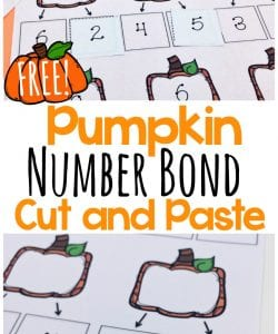 Pumpkin Number Bonds to Ten Cut and Paste {FREE}