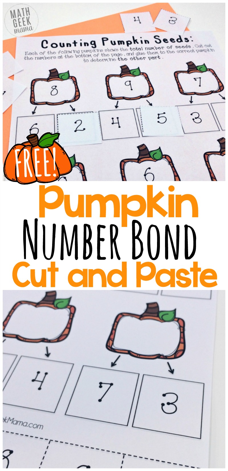 Looking for a fun way to help your kids practice number bonds to ten? This set of pumpkin-themed cut and paste pages is just the thing. Perfect for Fall, kids will love completing the number bonds by gluing in the correct numbers!