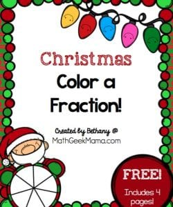 "Want a quick and easy way to reinforce fractions as well as equivalent fractions? This FREE set of ""color a fraction"" pages can be differentiated for various ages and stages and is a fun way to practice math this holiday season!"