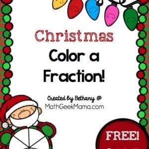 """Want a quick and easy way to reinforce fractions as well as equivalent fractions? This FREE set of """"color a fraction"""" pages can be differentiated for various ages and stages and is a fun way to practice math this holiday season!"""