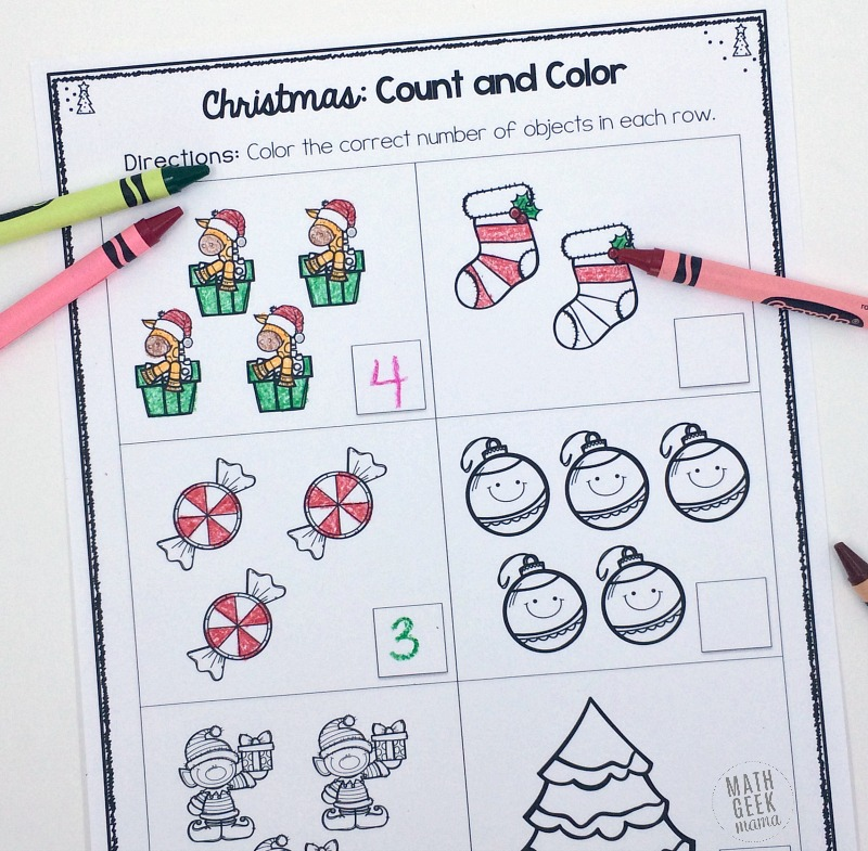 Christmas Count and Color: Free Christmas Counting Worksheets