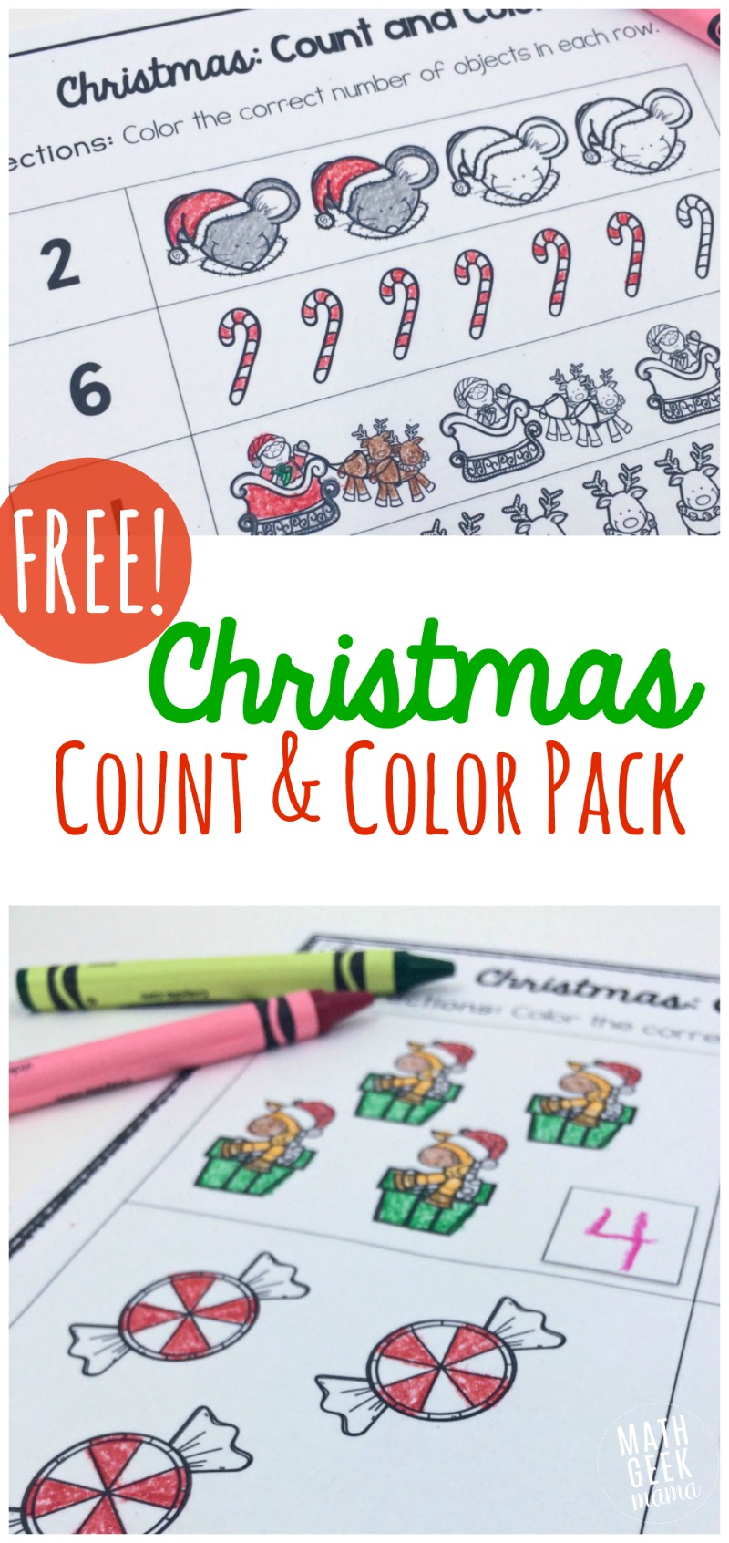 "This adorable set of Christmas themed ""count and color"" pages is perfect for Kindergarten! Help kids practice counting, writing numerals and one-to-one correspondance."