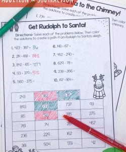 Christmas Addition and Subtraction Maze Challenges {FREE}