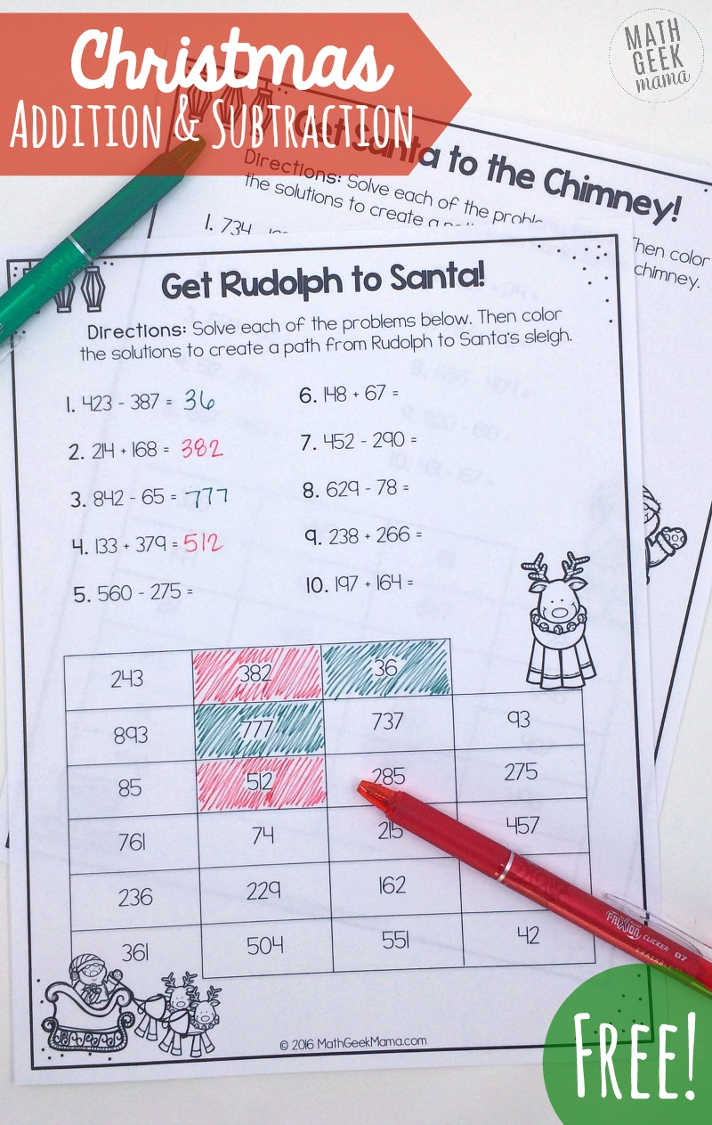 Looking for some fun practice to work on adding and subtracting 3 digit numbers? These Christmas maze pages include problems with regrouping as well as those when regrouping is not necessary. This is the perfect way to review with your second graders!