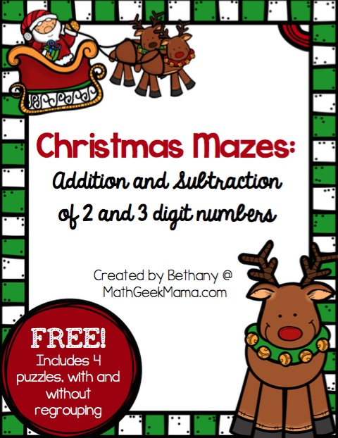 Christmas Mazes.Christmas Mazes Addition And Subtraction Math Geek Mama