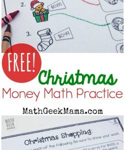 Christmas Shopping: Money Math Practice {FREE}
