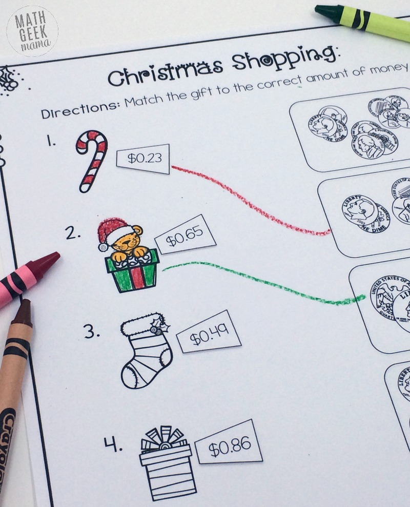 Christmas Shopping Money Math Worksheets FREE – Math Worksheets Christmas