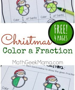 "Christmas ""Color a Fraction"" Pages {FREE}"