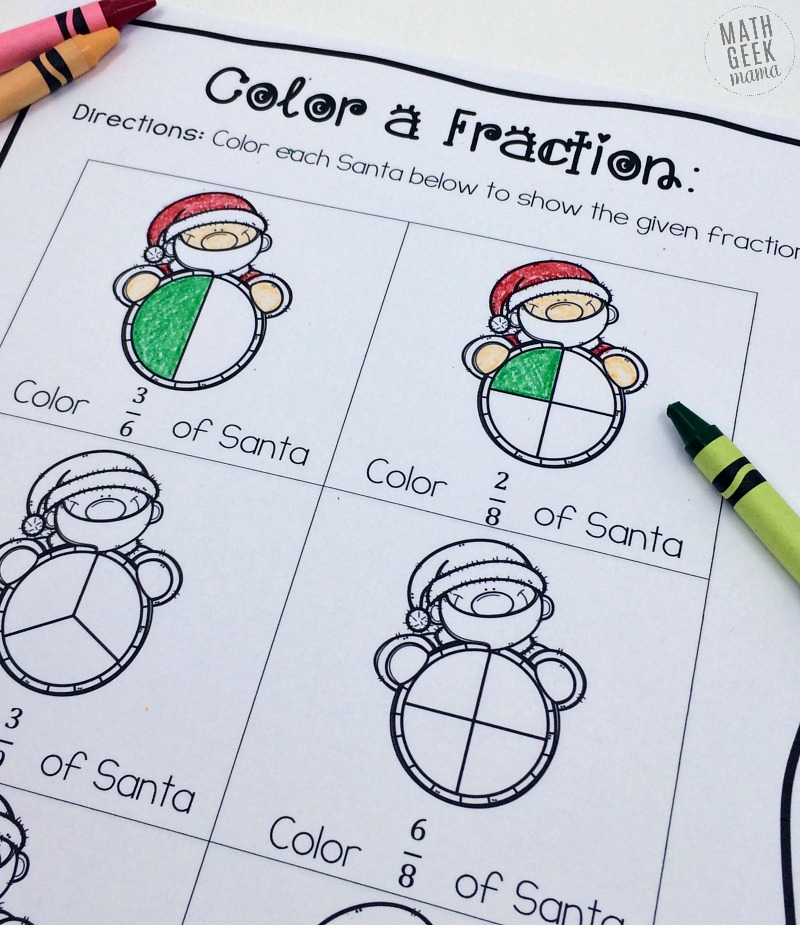 Christmas Fraction Worksheets for 35 Grade FREE – Christmas Fraction Worksheets