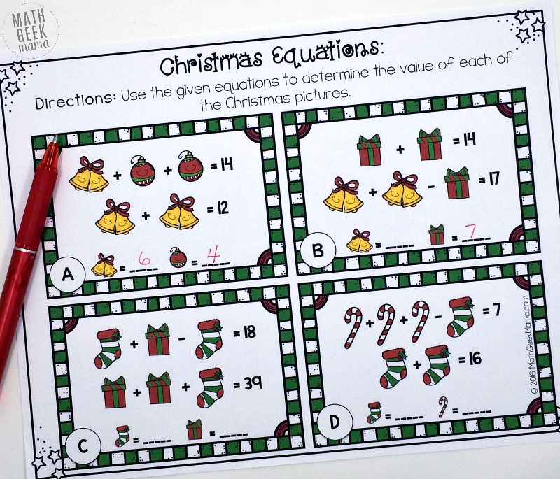 This set of FREE Christmas equation cards can be used by a variety of ages as a fun Christmas challenge to build algebraic thinking. Or you can use them as a fun way to introduce systems of equations in Algebra.