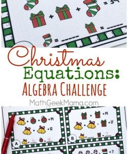 Christmas Equations: Algebra Skills Activity {FREE}