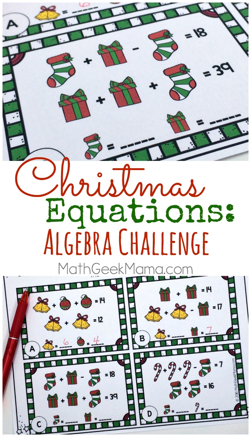 Christmas Equations Worksheet Unique Math Challenge