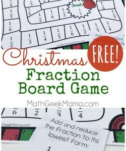 Grab this fun and easy to play Christmas fraction board game this December. Practice important fraction skills with your kids in a fun way!